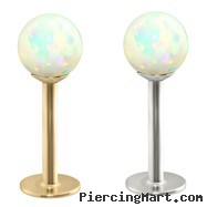 14K Gold Labret with White Opal Balls
