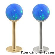14K Gold Labret with Blue Opal Balls