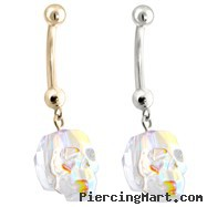 14K Gold (Nickel free) Belly Ring with Dangling AB Skull