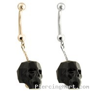 14K Gold (Nickel free) Belly Ring with a dangle Chain and Black Skull