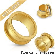 Pair Of Matte Gold IP Over 316L Surgical Steel Screw Fit Tunnels