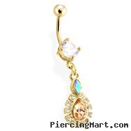 Gold Tone Belly Ring With Dangling Bordered Teardrop