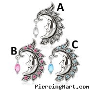 Crescent Moon Face with Gem Dangle Surgical Steel Reversed Navel Ring