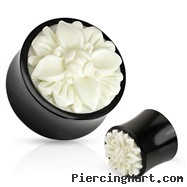 Pair Of Frasera Flower White Hand Carved Bone Inlay Organic Buffalo Horn Saddle Fit Plugs