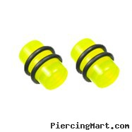 Pair Of Yellow UV Acrylic Plugs