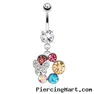 Butterfly with Paved Gems On Multi Colored Gems Surgical Steel Dangle Navel Ring