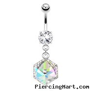 Cube Prism Gem Encased By Paved Gems Dangle Surgical Steel Navel Ring