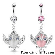 Cats Eye Owl with Gemmed Wings Glasses And Crown Dangle Surgical Steel Navel Ring