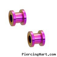 Pair Of Titanium Anodized Tunnels with Threaded Back - Purple