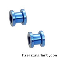 Pair Of Titanium Anodized Tunnels with Threaded Back - Light Blue