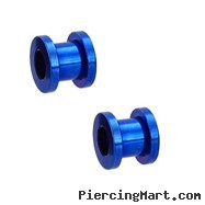 Pair Of Titanium Anodized Tunnels with Threaded Back - Blue