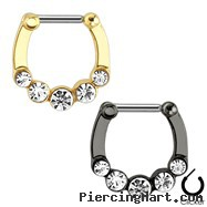 Five Gems Ion Plated Surgical Steel Bar Septum Clicker