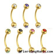 16G Matte Gold Toned Surgical Steel Eyebrow Curve Barbell with CZ