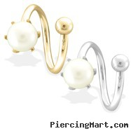 14K Gold Twister Barbell with 6mm White Pearl, 14Ga