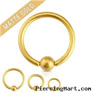 16G Matte Gold IP Over Surgical Steel Captive Bead Ring