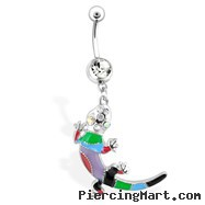 Fancy Multi Colored Lizard Belly Ring with Clear & AB Gems
