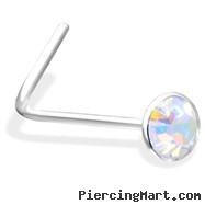 L-Shaped Nose Pin With AB Gem