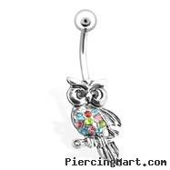 Owl with Multi Colored Gems Belly Ring, 14 Ga