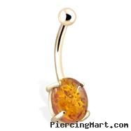 14K Gold Belly Button Ring With Genuine Amber Stone