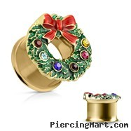 Gold Toned Wreath Double Flaired Tunnels, PAIR