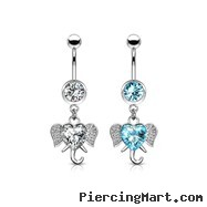 Navel Ring With Dangling Jeweled Heart Elephant