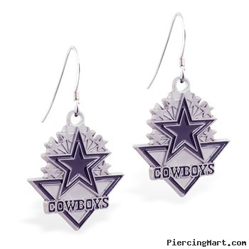 Mspiercing Sterling Silver Earrings With Official Licensed Pewter NFL Charm, Dallas Cowboys
