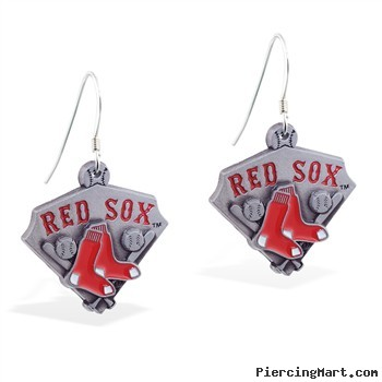 Mspiercing Sterling Silver Earrings With Official Licensed Pewter MLB Charms, Boston Red Sox