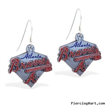 Mspiercing Sterling Silver Earrings With Official Licensed Pewter MLB Charms, Atlanta Braves