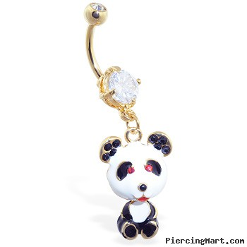 Gold Tone navel ring with dangling jeweled panda