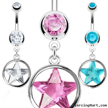 Belly ring with dangling star