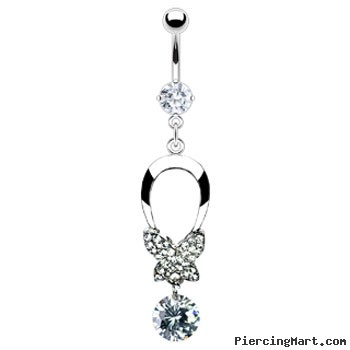 Belly ring with dangling butterfly bow and gem