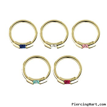 14K Gold segment ring with gem