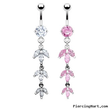 Belly ring with dangling jeweled pedals