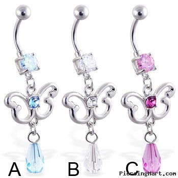 Belly ring with dangling jeweled butterfly and stone