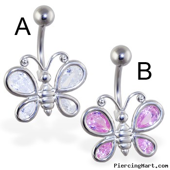 Large jeweled butterfly belly ring