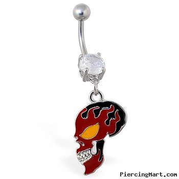 Belly ring with dangling red flame skull