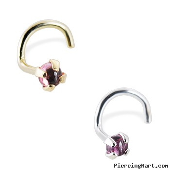 14K Gold Nose Screw with Genuine 2mm Round Cabochon Pink Tourmaline