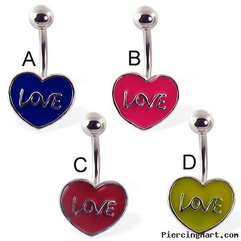 Love and heart belly button ring
