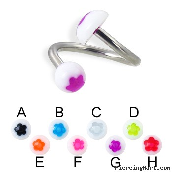 Flower ball and  half ball spiral barbell, 14 ga