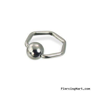Hexagon captive bead ring, 16 ga