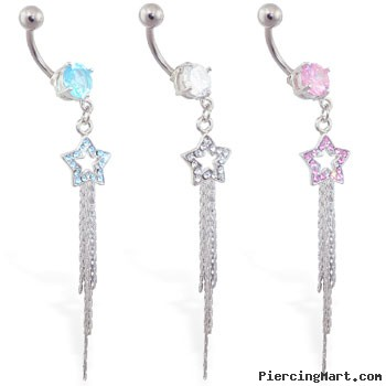 Dangling jeweled star belly button ring