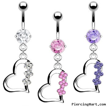 Dangling heart with jewels navel ring (titanium shaft)
