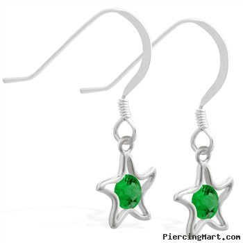 Sterling Silver Earrings with dangling Emerald jeweled star