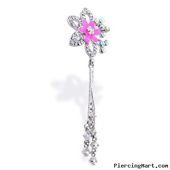 Reversible Flower Belly Ring with Dangling Chains