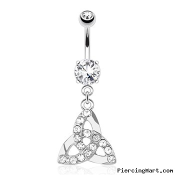 Celtic Knot with Paved Gems Dangle Surgical Steel Navel Ring