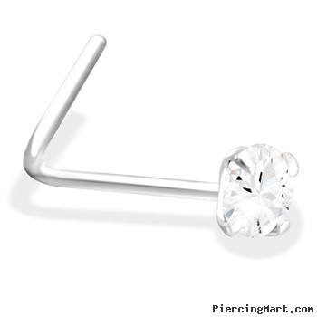 L-Shaped Silver Nose Pin with Clear CZ