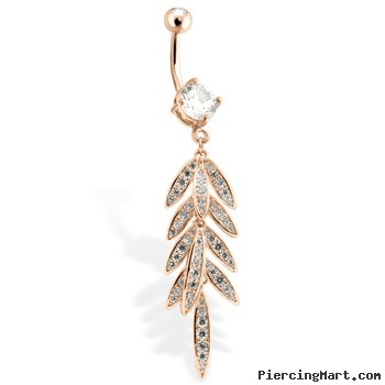 Rose Gold Toned Belly Ring With CZ Gem Paved Leaf
