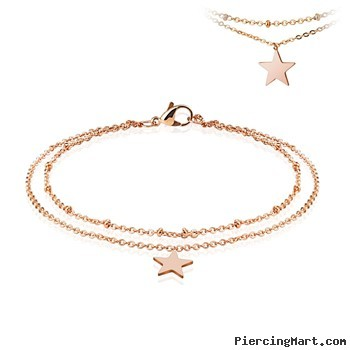 Rose Gold Toned Ankle Bracelet With Dangle Star