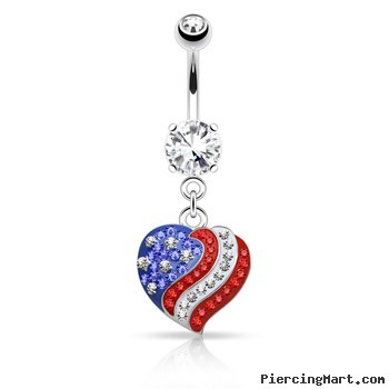 Crystal Paved American Flag Heart