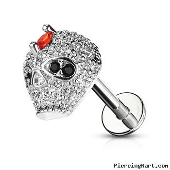 Labret Stud With CZ Paved Skull, 16 Gauge